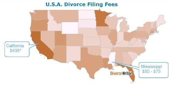 United States Divorce Filing Fees State Map